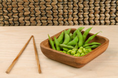 soya beans and chopsticks